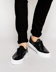 Asos Lace Up Plimsolls With Snakeskin Effect Black