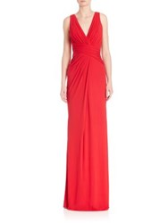 Badgley Mischka Ruched Bodice Jersey Gown Cherry Red