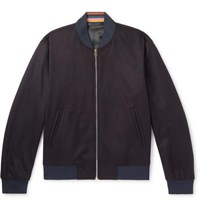 Paul Smith Wool And Cashmere Blend Bomber Jacket Navy