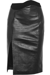 Thierry Mugler Crepe Trimmed Leather Skirt Black