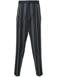 Tomorrowland Striped Tailored Trousers Blue