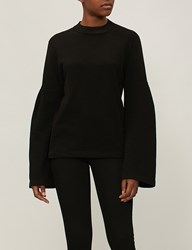 Stateside Flared Sleeve Cotton Jersey Sweatshirt Black