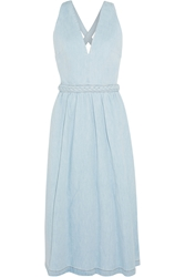 Valentino Braid Trimmed Denim Midi Dress