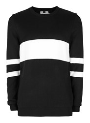 Topman Black And White Sport Stripe Sweater