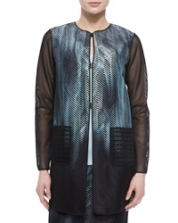 Elie Tahari Reversible Melody Mesh Sleeve Jacket