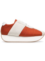 Marni Orange And White 40 Suede Panel Flatform Sneakers