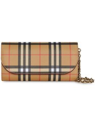 Burberry Vintage Check And Leather Wallet With Detachable Strap Yellow And Orange