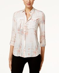 Calvin Klein Jeans Printed Button Front Utility Blouse