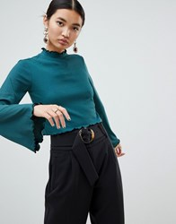Na Kd High Neck Frill Detail Jersey Top In Green