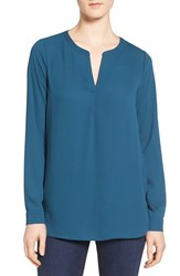 Pleione Women's Slit Neck Shirttail Blouse Teal Abyss