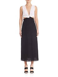 Thakoon Banded Two Tone Lace Dress Oxford
