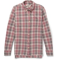 Remi Relief Slim Fit Washed Cotton Plaid Shirt Red