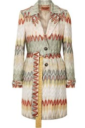 Missoni Belted Crochet Knit Trench Coat Neutral