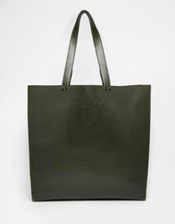 Asos Tote Bag With Contrast Internal Khaki Green