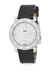 Fendi Selleria Diamond Mother Of Pearl Stainless Steel And Leather Strap Watch Black