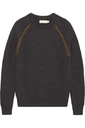Tory Burch Trudy Embellished Wool Sweater Charcoal
