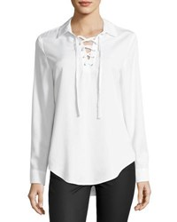 Chelsea And Theodore Lace Up Long Sleeve Blouse White