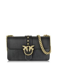 Pinko Love Simply Black Leather Shoulder Bag W Golden Chain