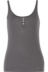 Enza Costa Ribbed Pima Cotton And Micro Modal Blend Jersey Tank Dark Gray