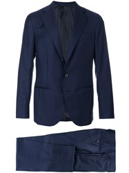 Caruso Two Piece Suit Men Cupro Wool Bemberg 54 Blue