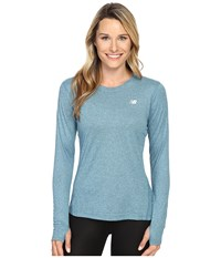 New Balance Heathered Long Sleeve Shirt Castaway Heather Women's Long Sleeve Pullover Blue