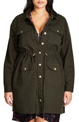 City Chic Plus Size Women's Adventure Time Long Utility Jacket Olive
