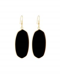 Panacea Elongated Stone Drop Earrings Black