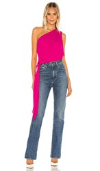 Krisa One Shoulder Tie Top In Fuchsia. Jazz