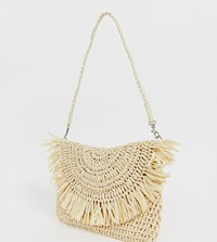 South Beach Exclusive Frayed Edge Natural Straw Clutch Bag With Detachable Shoulder Strap Beige