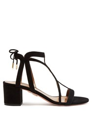 Aquazzura Fiji Block Heel Suede Sandals Black