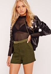 Missguided Satin Highwaisted Co Ord Shorts Green