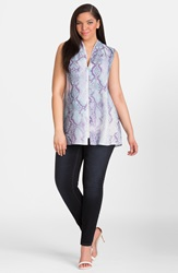 Mynt 1792 Print Zip Neckline Top Plus Size Cool Neon Snake