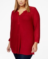 Lucky Brand Jeans Plus Size Long Sleeve Textured Tunic Top