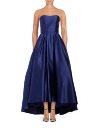 Betsy And Adam Strapless Satin Gown Royal