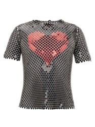 Paco Rabanne Heart Sequin Chainmail T Shirt Black