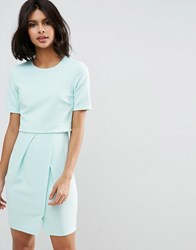 Asos Textured Double Layer Mini Wiggle Dress Mint Green