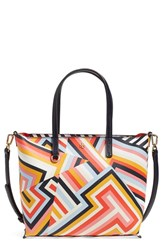Tory Burch 'Small Kerrington' Vinyl Tote Red Cut Out T Print
