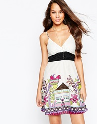Pussycat London Sun Dress With Floral Print Border White