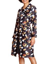 Yumi Floral Woven Trench Coat Black