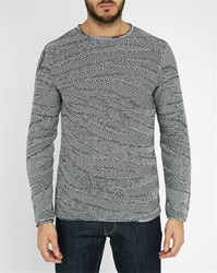 Armani Jeans Navy Graphic Knit Cotton Round Polo Neck Sweater Blue