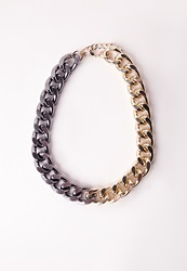 Missguided Two Tone Chain Necklace Grey