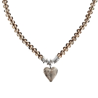 Martick Murano Heart And Crystal Necklace Platinum