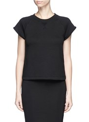 Alexander Wang Raglan Short Sleeve French Terry Sweatshirt Black