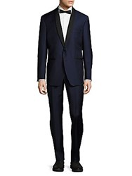 Saks Fifth Avenue Made In Italy Modern Fit Wool Shawl Collar Tuxedo Blue