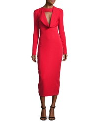 Cushnie Et Ochs Stretch Crepe Cowl Neck Midi Dress Red