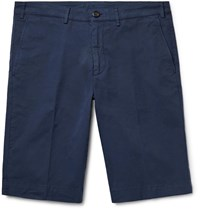 Canali Cotton Blend Twill Shorts Blue