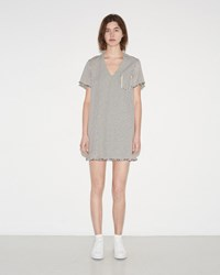 Alexander Wang Frayed Striped Cotton Dress Ecru