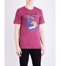 The Kooples Skeleton Surfer Print Cotton Blend T Shirt Red01