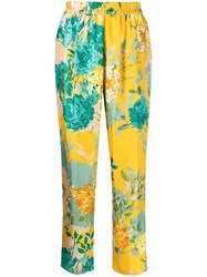 Gianluca Capannolo Mila Floral Print Silk Trousers Yellow