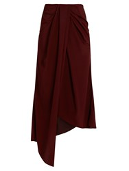 Sies Marjan Twisted Front Silk Crepe And Satin Skirt Burgundy